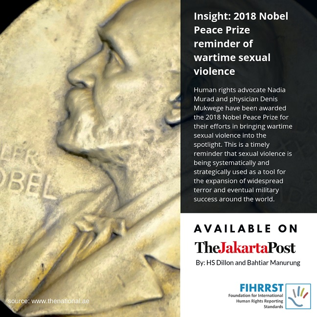 2018 Nobel Peace Prize reminder of wartime sexual violence