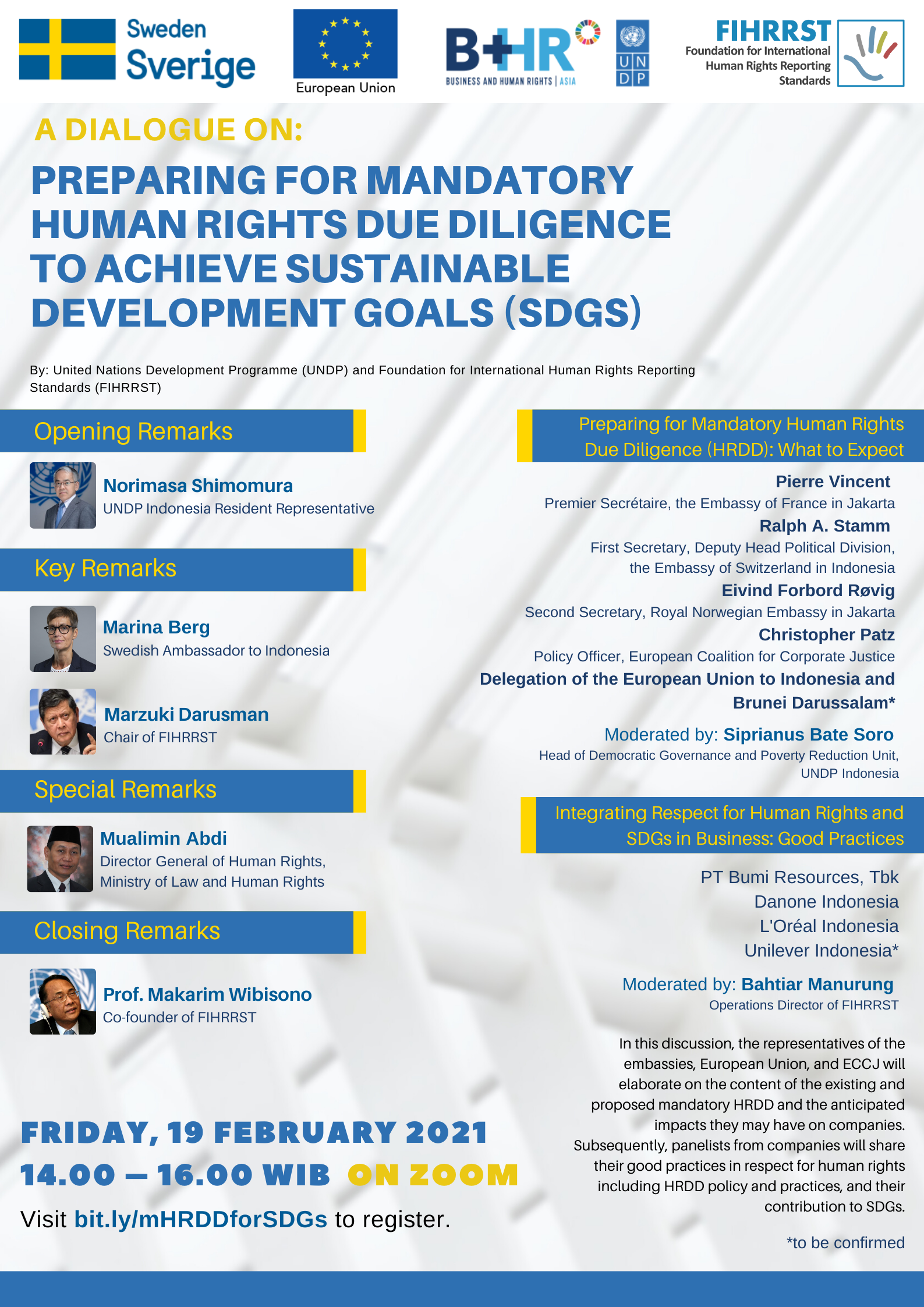 Coming Soon on 19 Feb 2021 - Discussion on Preparing for Mandatory Human Rights Due Diligence to Achieve SDGs